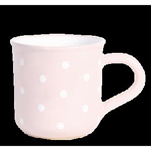 Reggeliző bögre 5,5 dl, pasztell rózsaszin-fehér pöttyös
