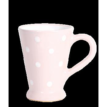 Karcsú bögre 2 dl, pasztell rózsaszin-fehér pöttyös