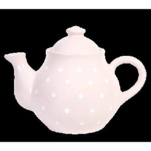 Teás kanna, pasztell rózsaszín-fehér pöttyös