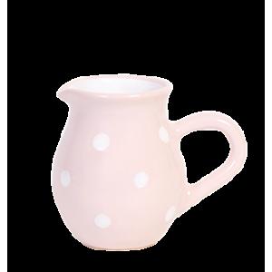 Tejszínes kancsó,pasztell rózsaszín-fehér pöttyös