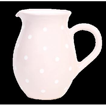 Hagyományos kancsó, pasztell rózsaszin-fehér pöttyös