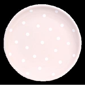 Desszertes tányér, pasztell rózsaszin-fehér pöttyös