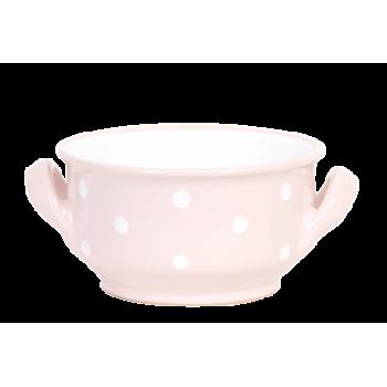 Leveses tálka 2 füles, pasztell rózsaszin-fehér pöttyös