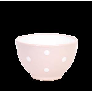 Kompótos/szószos tálka, pasztell rózsaszin-fehér pöttyös