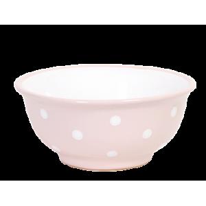 Müzlis tál kicsi, pasztell rózsaszín-fehér pöttyös