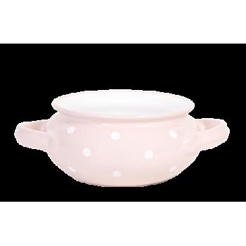 Gulyás tál, pasztell rózsaszin-fehér pöttyös