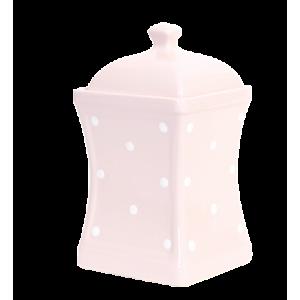 Íves fűszertartó nagy, pasztell rózsaszin-fehér pöttyös