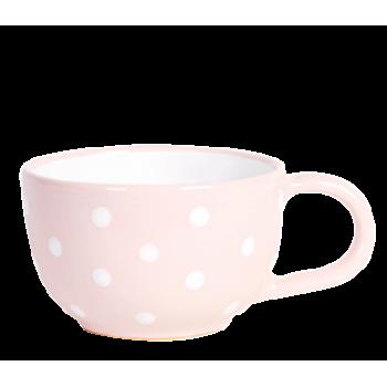 Teás csésze 3,8 dl,pasztell rózsaszín-fehér pöttyös
