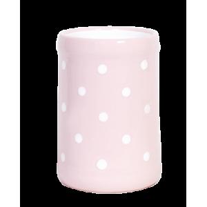 Fakanáltartó, pasztell rózsaszin-fehér pöttyös