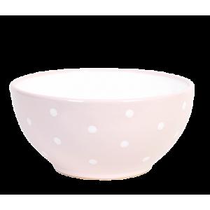 Tálaló tál, pasztell rózsaszin-fehér pöttyös