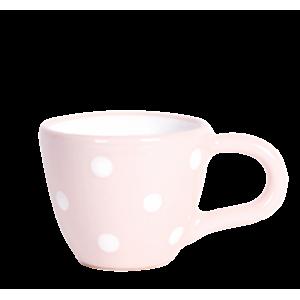Kávés csésze pasztell rózsaszin-fehér pötty