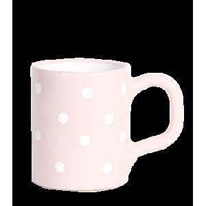Egyenes bögre 2,8 dl, pasztell rózsaszin-fehér pöttyös