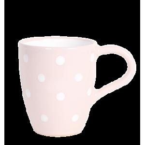 Tejeskávés bögre 3 dl, pasztell rózsaszín-fehér pöttyös