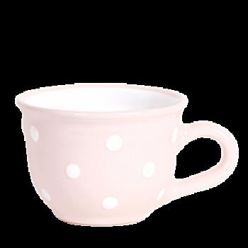 Cappuccino-teás csésze 2,5 dl, pasztell rózsaszín-fehér pöttyös