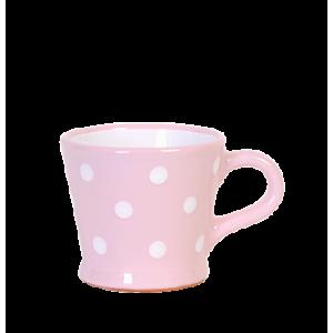 Trapéz bögre 2 dl, pasztell rózsaszin-fehér pöttyös