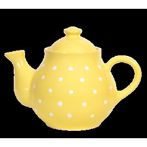 Teás kanna, pasztell sárga-fehér pöttyös