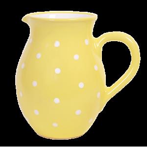 Hagyományos kancsó, pasztell sárga-fehér pöttyös