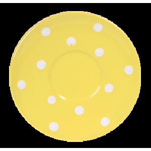 kávés csészealj pasztell sárga- fehér pötty