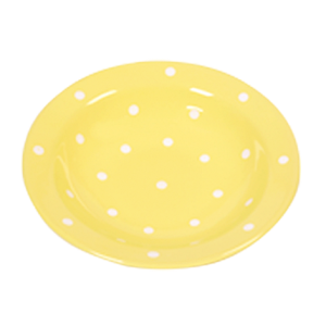 Mélytányér, pasztell sárga-fehér pöttyös