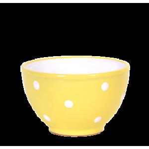 Kompótos/szószos tálka, pasztell sárga-fehér pöttyös
