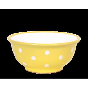 Müzlis tál kicsi, pasztell sárga-fehér pöttyös