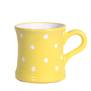 Íves bögre 4,5 dl, pasztell sárga-fehér pöttyös
