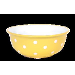 Müzlis tál nagy, pasztell sárga-fehér pöttyös