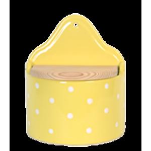 Fali sótartó fa tetővel, pasztell sárga-fehér pöttyös