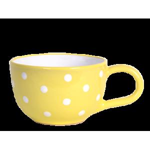 Teás csésze 3,8 dl, pasztell sárga-fehér pöttyös