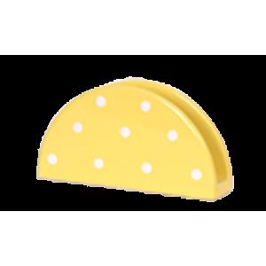 Szalvétatartó, pasztell sárga-fehér pöttyös
