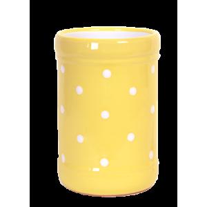 Fakanáltartó, pasztell sárga-fehér pöttyös