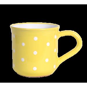 Reggeliző bögre 5,5 dl, pasztell sárga-fehér pöttyös
