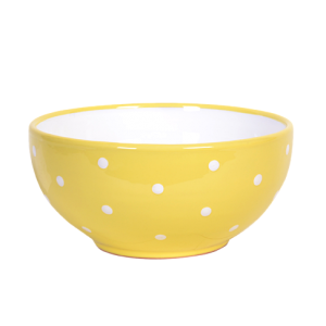 Tálaló tál, pasztell sárga-fehér pöttyös