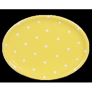 Ovális tálaló, pasztell sárga-fehér pöttyös