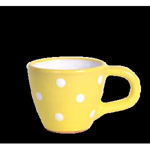 Kávés csésze pasztell sárga-fehér pötty