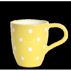 Tejeskávés bögre 3 dl, pasztell sárga-fehér pöttyös