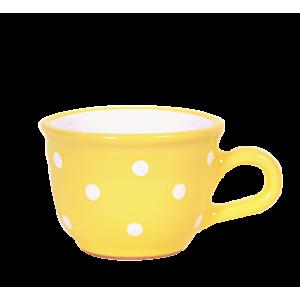 Cappuccino-teás csésze 2,5 dl, pasztell sárga-fehér pöttyös