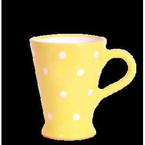Karcsú bögre 2 dl, pasztell sárga-fehér pöttyös