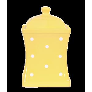 Íves fűszertartó nagy, pasztell sárga-fehér pöttyös