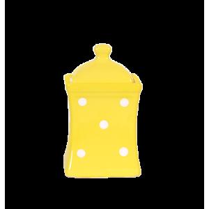 Íves fűszertartó kicsi, pasztell sárga-fehér pöttyös