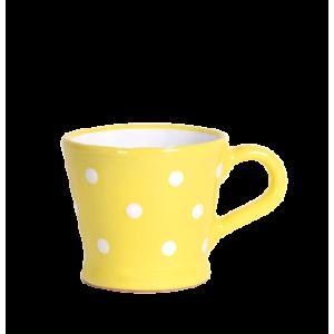 Trapéz bögre 2 dl, pasztell sárga-fehér pöttyös