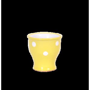 Tojástartó, pasztell sárga-fehér pöttyös