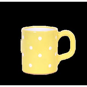Egyenes bögre 2,8 dl, pasztell sárga-fehér pöttyös
