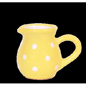 Tejszínes kancsó,pasztell sárga-fehér pöttyös