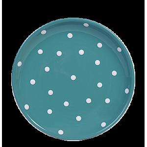 Desszertes tányér, sötét türkiz- fehér pöttyös