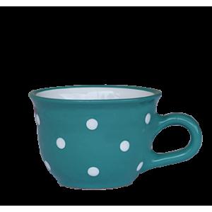 Cappuccino-teás csésze 2,5 dl sötét türkiz-fehér pöttyös