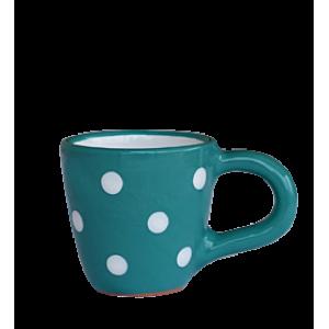 Kávés csésze sötét türkiz-fehér pötty