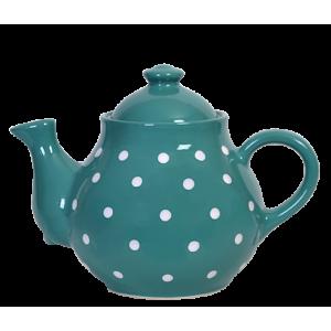 Teás kanna, sötét türkiz-fehér pöttyös