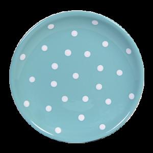 Desszertes tányér, pasztell türkiz- fehér pöttyös