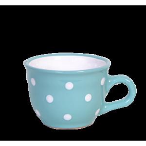 Cappuccino-teás csésze 2,5 dl, türkiz-fehér pöttyös